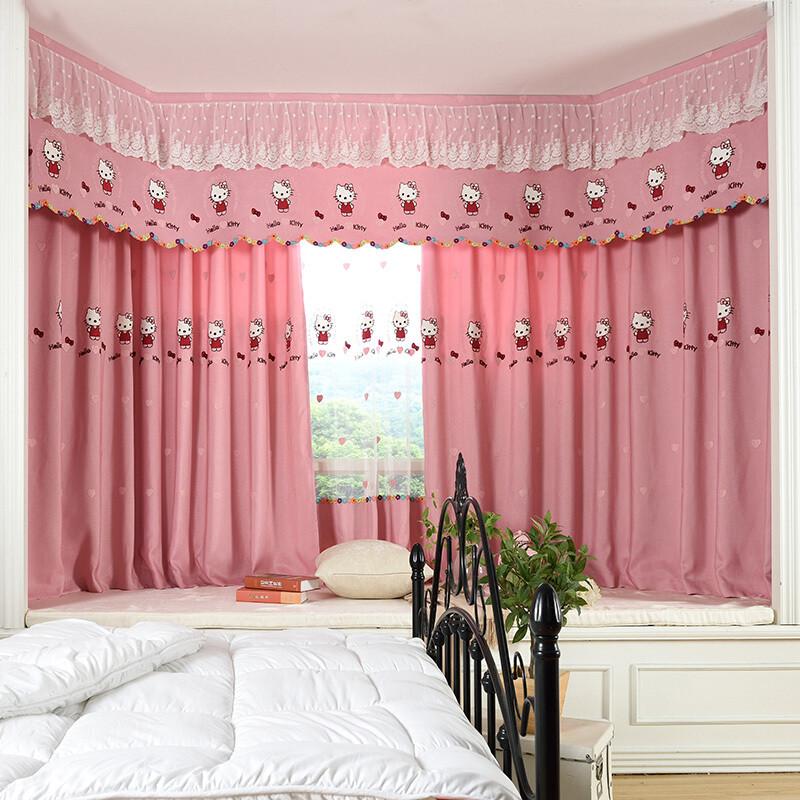 doxay儿童可爱卡通女孩公主房窗帘粉色定制遮光卧室成品飘窗 宽3.