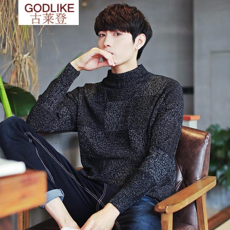 秋冬男韩版个性半高领毛衣长袖针织衫男毛线衫青年男款 xl 米白色