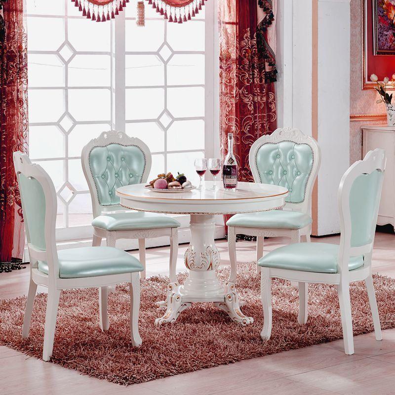 欧式小餐桌椅组合圆形餐桌1米小户型饭桌80小圆桌洽谈