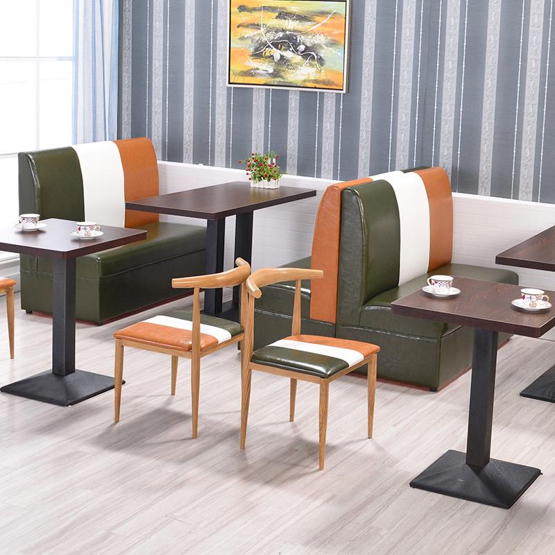 邀客 复古西餐厅沙发卡座咖啡厅桌椅快餐店休闲桌椅组合甜品店奶茶店图片