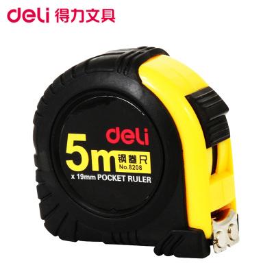 得力(deli)8208 5m全包胶钢卷尺 测量尺 卷尺 尺子 拉尺 钢尺 木工卷尺 鲁班尺 测量工具