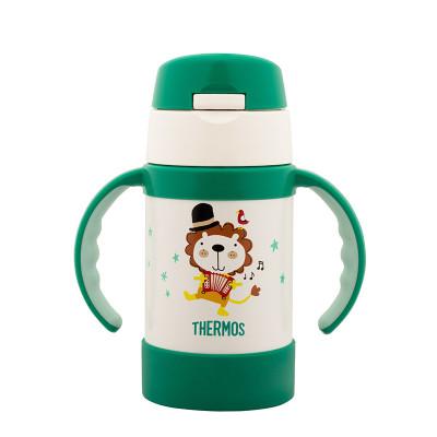 膳魔師(THERMOS)高真空不銹鋼保溫吸管杯水杯帶手柄寶寶學飲杯FEC-283S GR 280ml