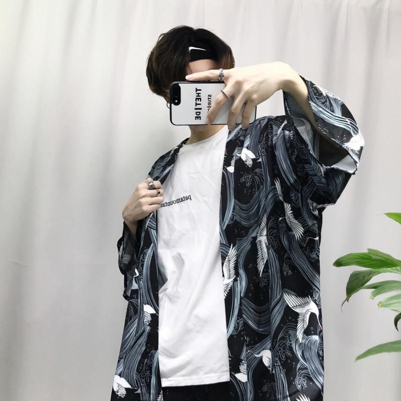 新款日系复古仙鹤印花和服开衫男中长款oversize衬衫羽织和风薄外套潮