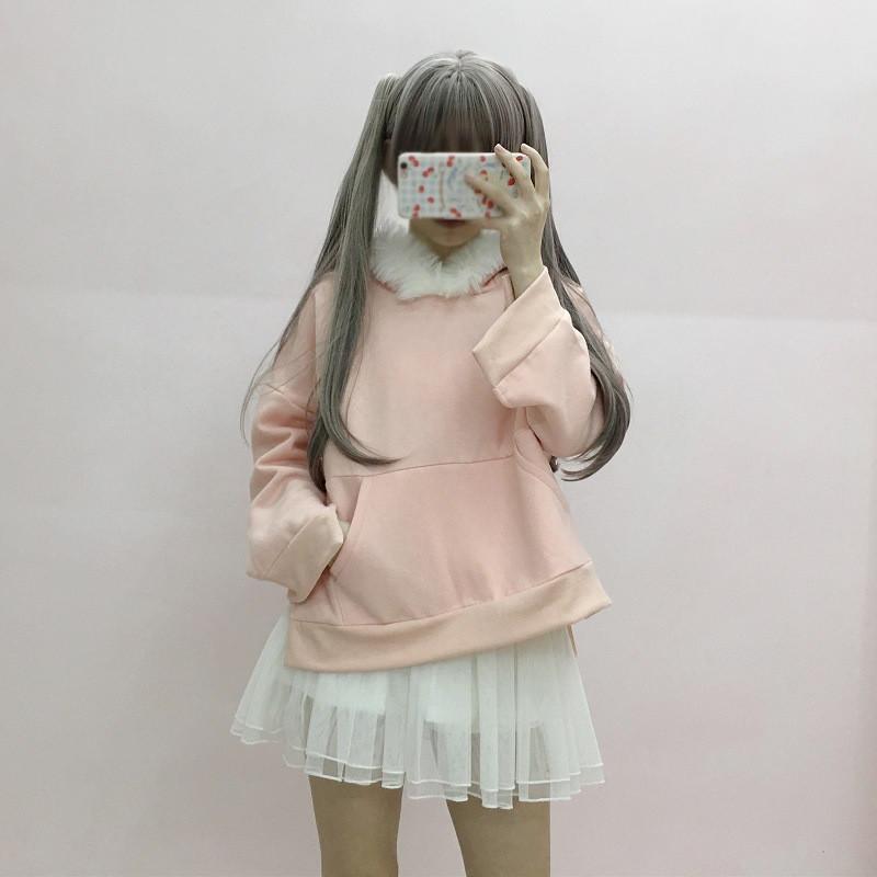 娇米诗2017秋冬装新款可爱连帽兔耳朵学生卫衣女 均码图片