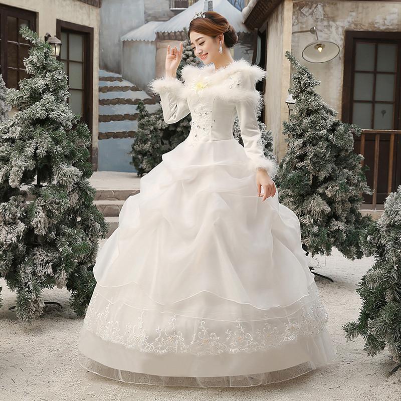 2017新款新娘结婚一字肩婚纱礼服齐地冬季保暖长袖加厚韩版秋冬款 xl