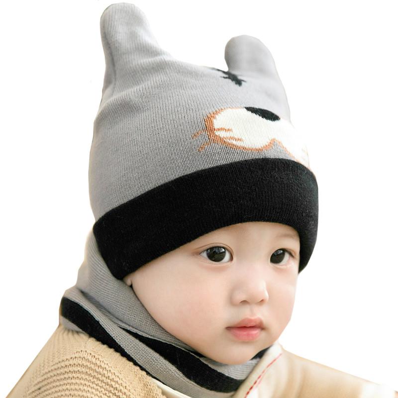 男宝宝帽子秋冬季婴幼儿针织帽围脖3-6-12个月儿童毛线帽1-2岁女 小熊