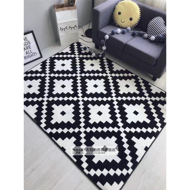 黑白门厅长方形沙发地毯客厅茶几房间地垫子_1 190*190 休闲格调