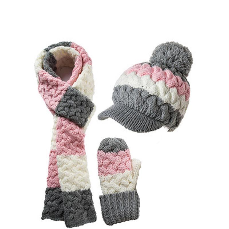 帽子围巾手套三件套女秋冬天韩版潮可爱蝴蝶结加绒保暖套装_1 粉色系