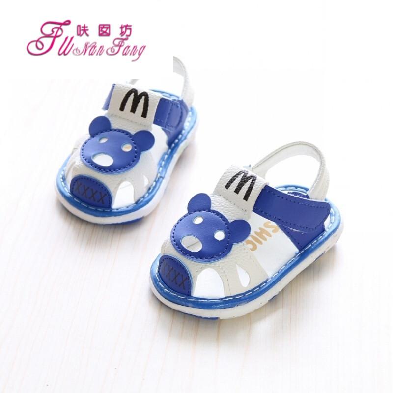 夏季新款儿童男童凉鞋女童可爱公主鞋婴儿包头学步鞋叫叫鞋_1