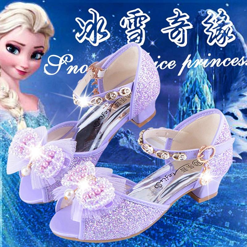 2017新款儿童凉鞋4夏5小女孩6蝴蝶结7女童8高跟9公主10小孩子11水晶鞋