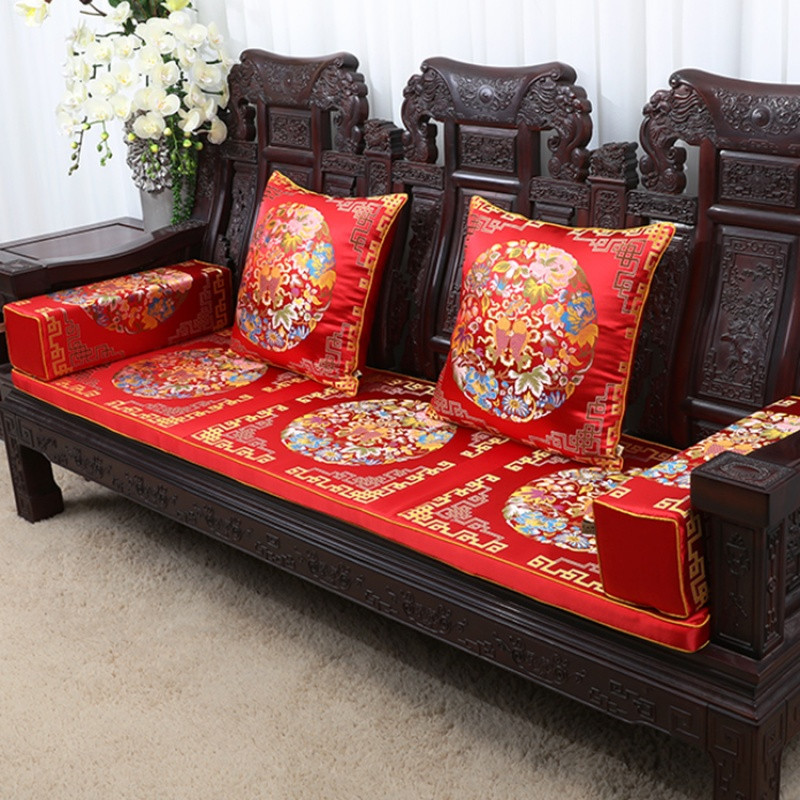 中式古典沙发坐垫抱枕腰枕红木椅垫加厚海绵座垫椅垫定做靠垫套装_1_1