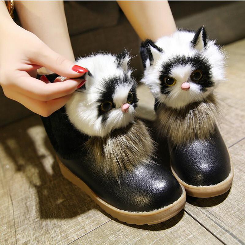 2017冬新款韩版卡通猫猫平跟短靴少女大童棉鞋初高中学生雪地靴子