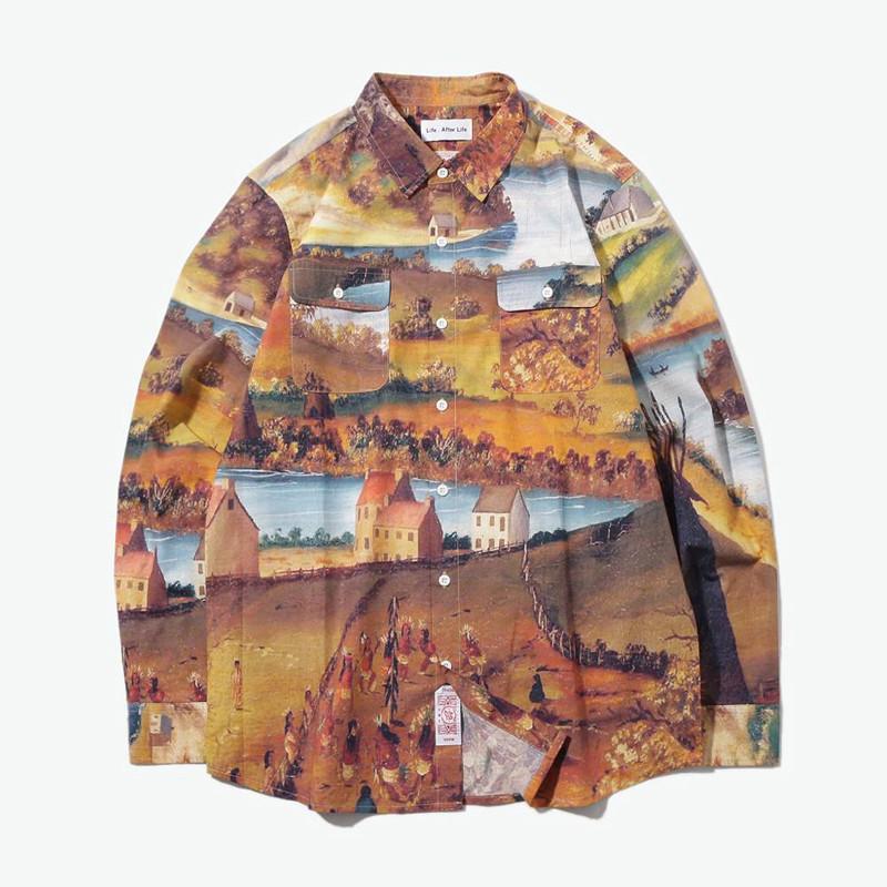 yoho有货潮牌lifeafterlife创意满版油画图案休闲长袖衬衫男 m 彩色