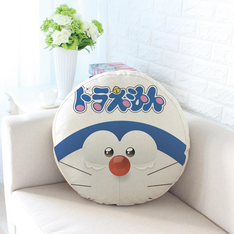机器猫哆啦a梦棉麻亚麻抱枕圆形坐垫靠枕沙发靠垫生日