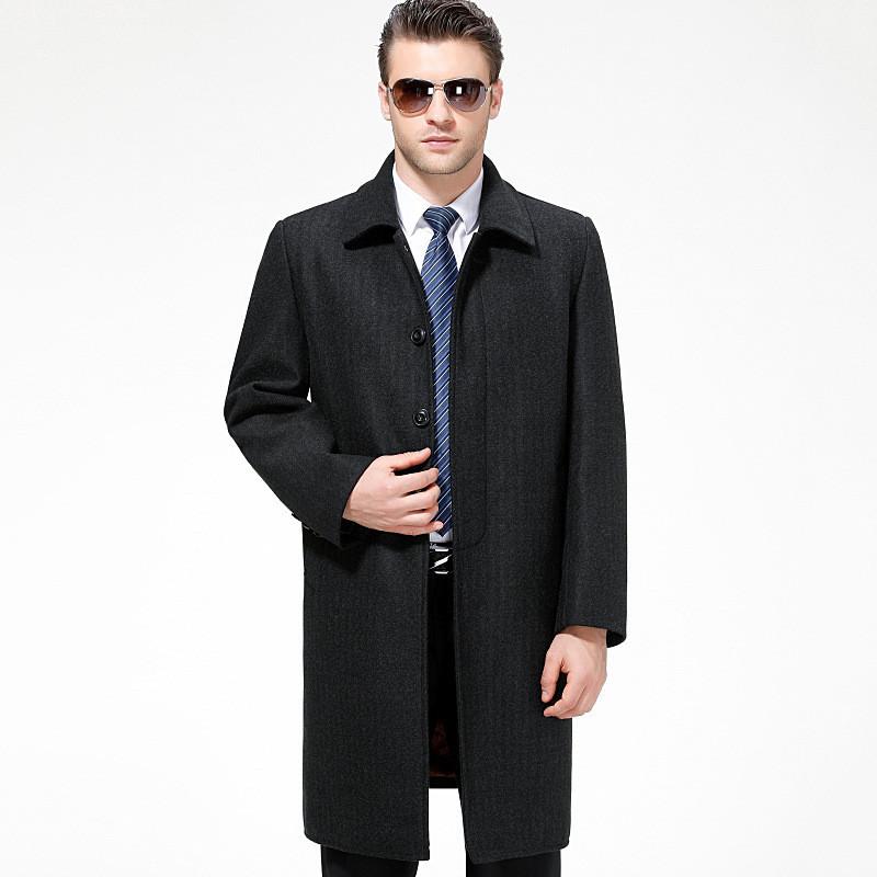 2017新款冬季男士中長款修身款羊毛呢子大衣中年加厚風衣呢子外套男裝圖片