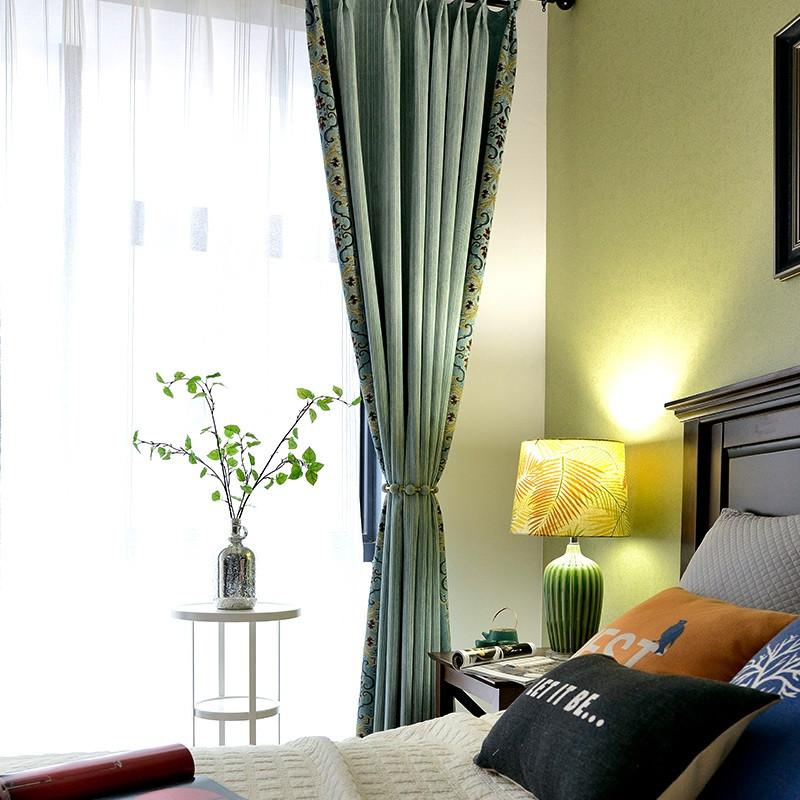 窗帘田园风格小清新双层纱帘遮光卧室北欧风罗马窗帘配饰文艺 3.2m*2.