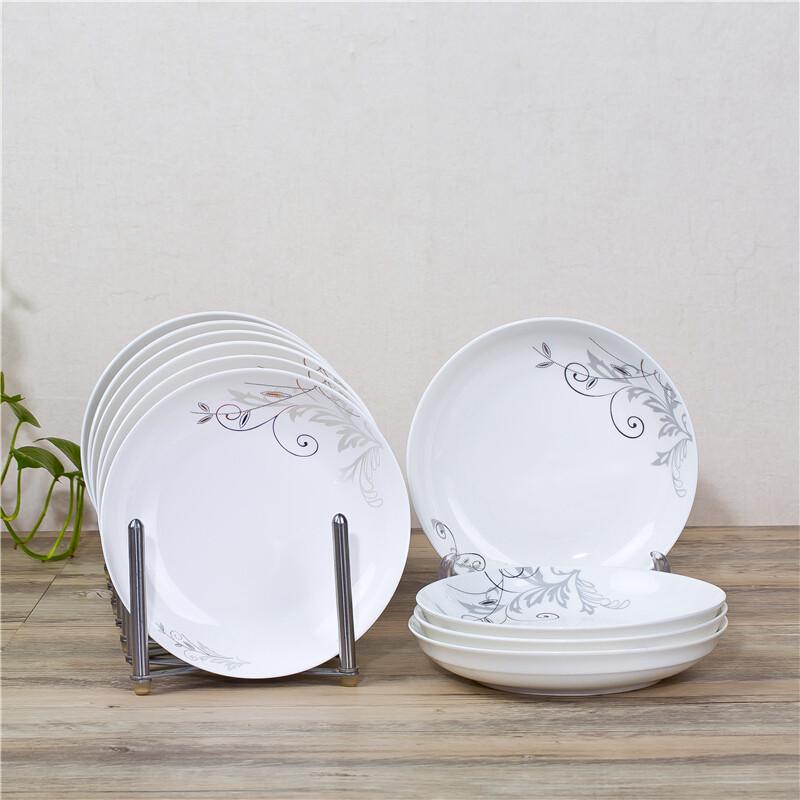 卓品佳景德镇10只盘子陶瓷菜盘碟子垫套装中式家用饭盘圆盘汤盘菜碟