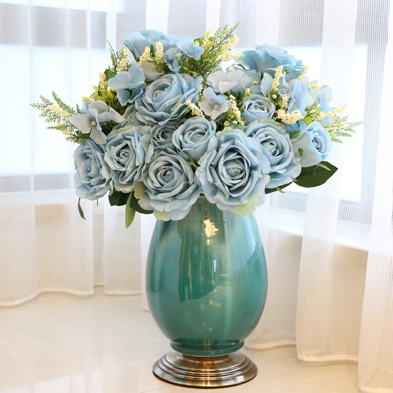 新古典美式欧式家居工艺品装饰品摆件陶瓷仿真花瓶花器套装