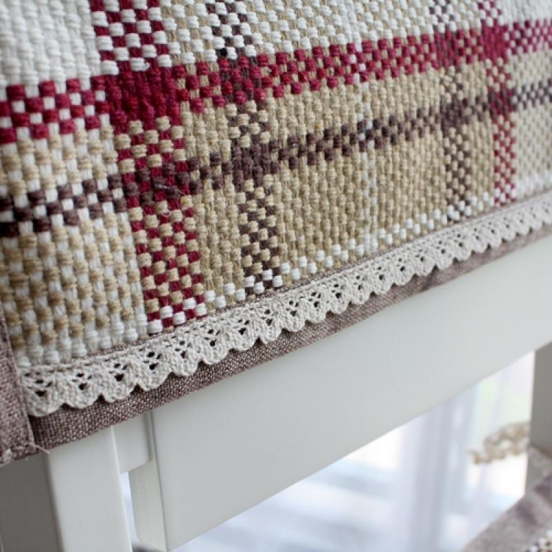 四季棉线编织椅子坐垫餐椅垫座垫绑带办公室椅垫可机洗苏格兰红_2 40*