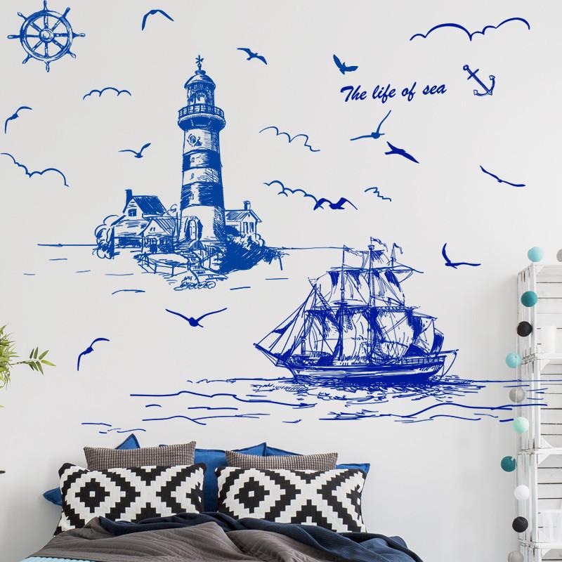 墙贴纸贴画客厅卧室手绘地中海北欧风家居墙壁纸装饰灯塔帆船_1