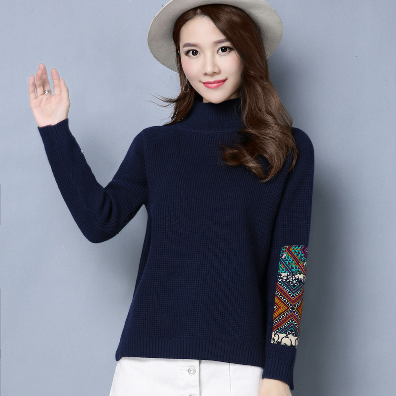 珍真羊 高领毛衣女宽松短款韩版长袖针织衫女套头2017