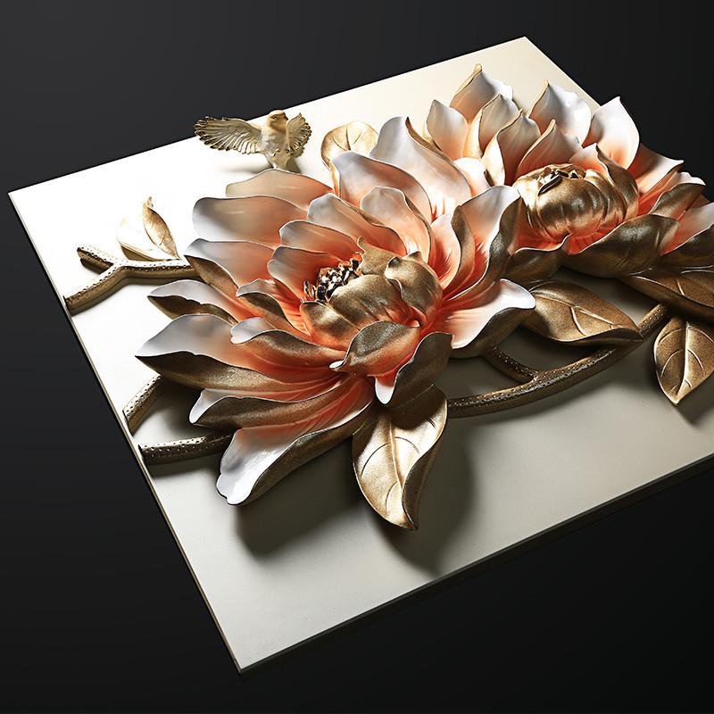 现代欧式浮雕画沙发背景墙3d手绘手工制作客厅装饰画团聚_3