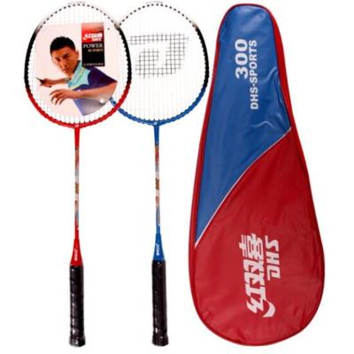 紅雙喜DHS羽毛球拍對拍鐵合金材質羽拍300業余初級控球型適合家庭娛樂業余訓練團建用拍