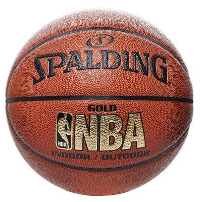 斯伯丁SPALDING篮球通用篮球74-606/64-284七号篮球PU材质室内外 NBA金色经典 比赛耐磨防滑