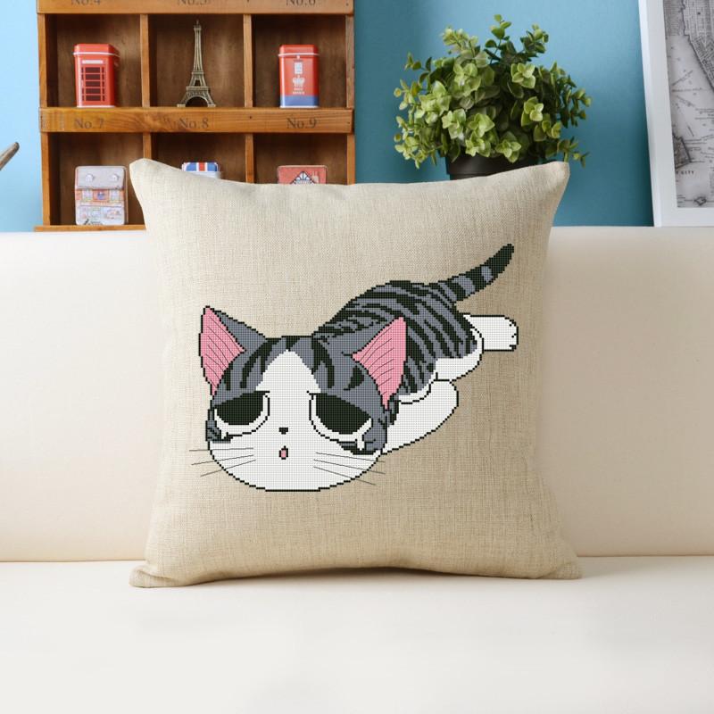 十字绣客厅新款卡通动物可爱儿童猫呆萌猫咪亚麻抱枕花 kt3431翘尾巴
