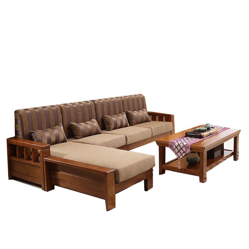 老故居全实木沙发客厅小户型橡胶木家具 l型转角贵妃沙发带茶几 三人