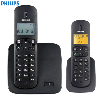 飞利浦(PHILIPS) DCTG186一拖一 数字无绳电话套机 免提对讲 屏幕背光 家用办公座机子母机(黑色)
