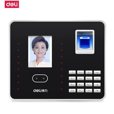 得力deli3969人臉考勤機指紋式打卡機面部識別考勤機刷臉上班簽到機