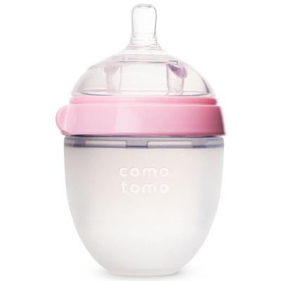 可么多么(como tomo)寶寶嬰兒全硅膠寬口徑奶瓶粉色 150ml