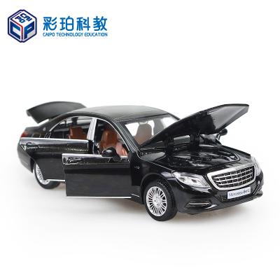 彩珀奔驰S600 轿车跑车声光回力合金汽车模型玩具车男孩礼物 颜色随机