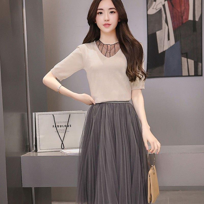 新款女装修身气质a字裙七分袖多层网纱中裙针织连衣裙