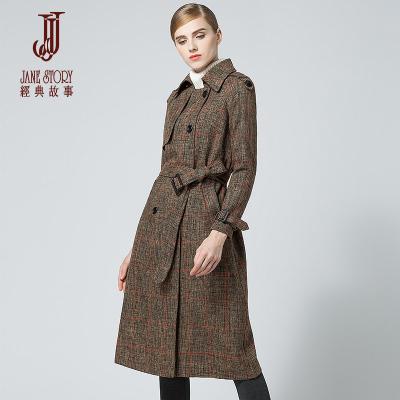 经典故事女装秋冬编织花呢通勤风衣女英伦格纹修身外套