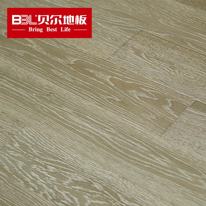 贝尔地板 橡木多层实木地板灰色地板15mm北欧风格家用