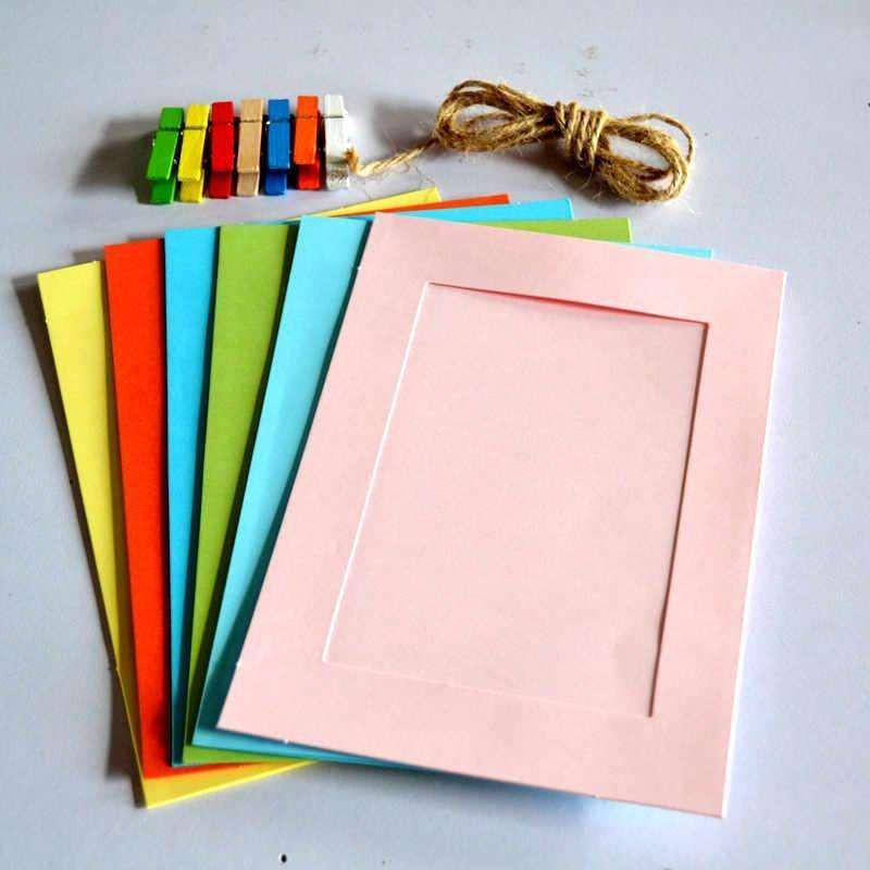 6寸diy悬挂式纸相框照片墙 彩色麻绳木夹相框套装 7张