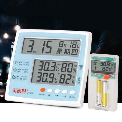 美德時742 無線電子室內外溫濕度 計家用溫度計溫濕度表 農歷鬧鐘 標準配置1主機1分機