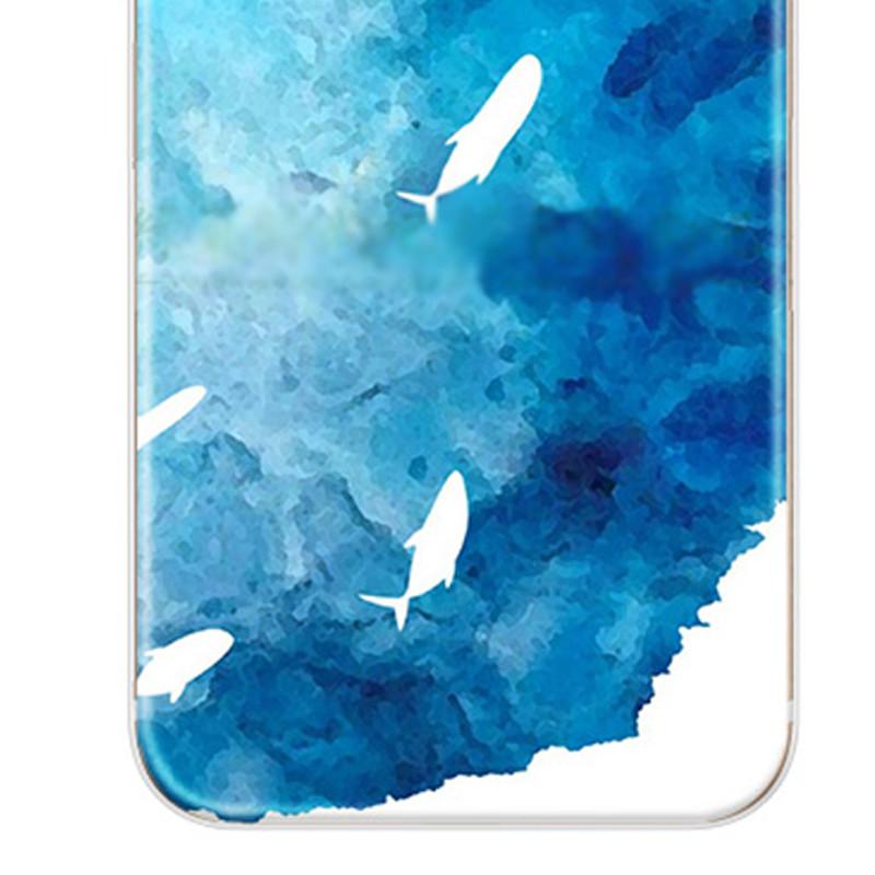 特兰恩 手机壳 简约蓝色海底手机壳 鲸鱼保护壳套 适用于iphone6/6sx