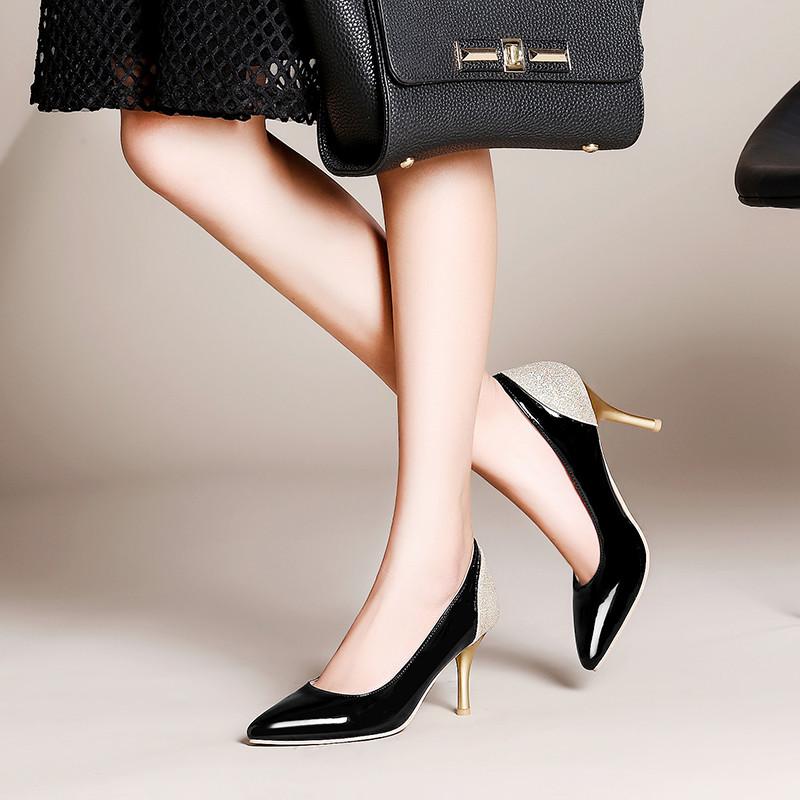 裂帛鸟17新款高跟鞋女性感尖头单鞋细跟浅口高跟工作鞋伴娘鞋大码女