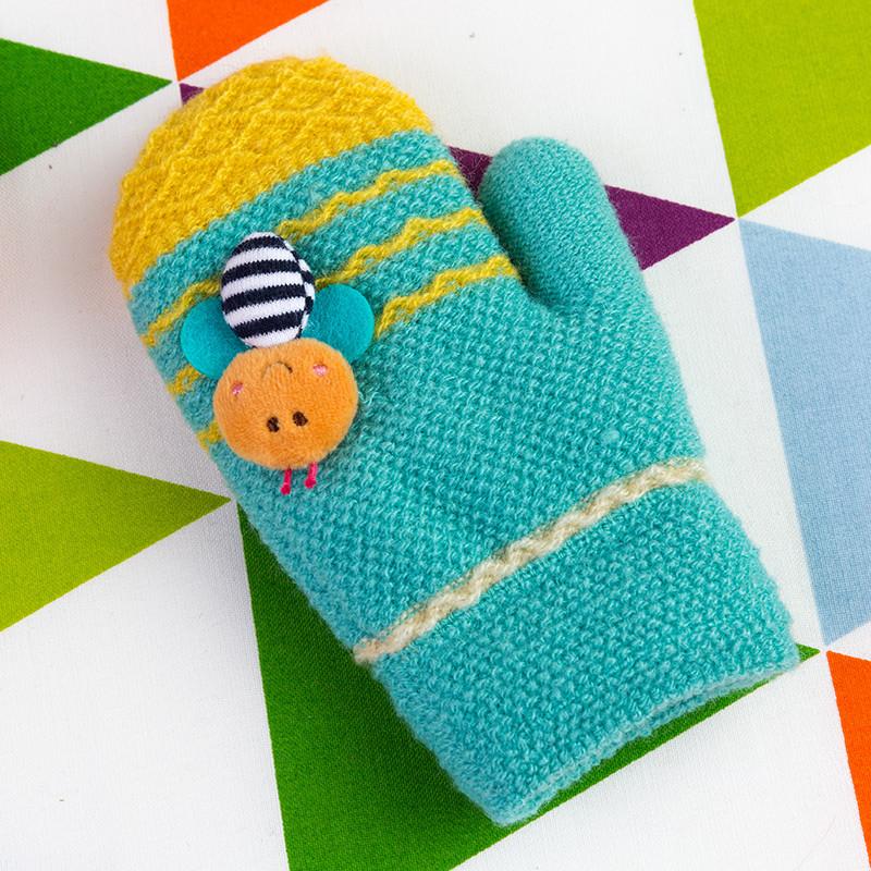 百瑞欧 3-6岁毛线可爱儿童手套男女秋冬保暖幼儿园小朋友手套针织