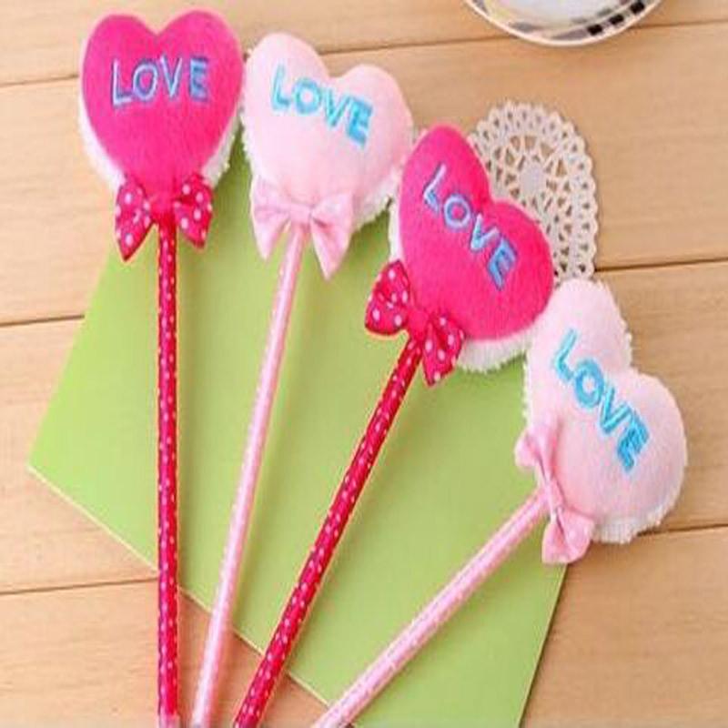 可爱唯美五根love爱心圆珠笔 蝴蝶结毛绒圆珠笔 颜色随机