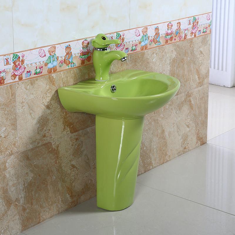 幼儿园陶瓷立柱盆洗手盆洗脸盆儿童卡通彩色水龙头专用彩色柱盆白色