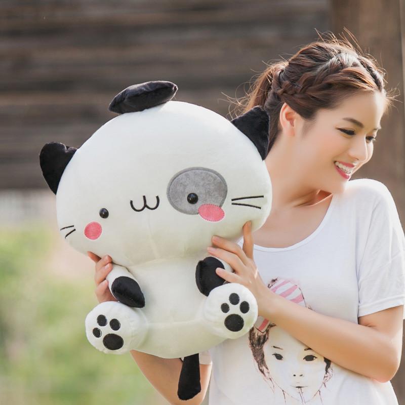 可兰薇 可爱招财猫公仔 机器猫毛绒玩具 饭团猫布娃娃