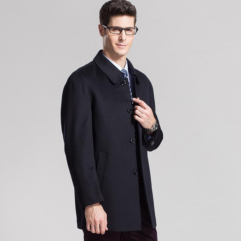 恒源祥男羊绒大衣_恒源祥羊绒大衣男士秋冬季新款男装商务毛呢子夹克外套中长款风衣