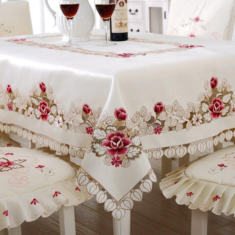 凡轩 桌布椅套布艺欧式田园绣花餐桌布台布茶几布镂空刺绣桌旗 圆形