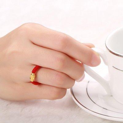 钻石快线 红绳黄金戒指 女士足金戒指 橄榄转运珠红绳
