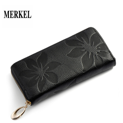 莫爾克(MERKEL)新款頭層牛皮女士錢包長款手包女式手機錢包真皮女手抓包韓版休閑印花女款