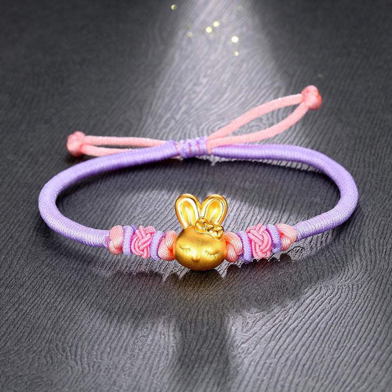 钻石凤凰 3d硬金999足金 可爱小萌兔宝宝手链 十二生肖兔手绳女款